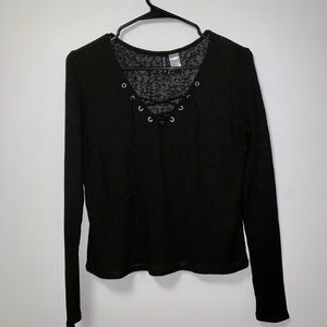 H&M Black Lace-up Long Sleeve Sweater Top